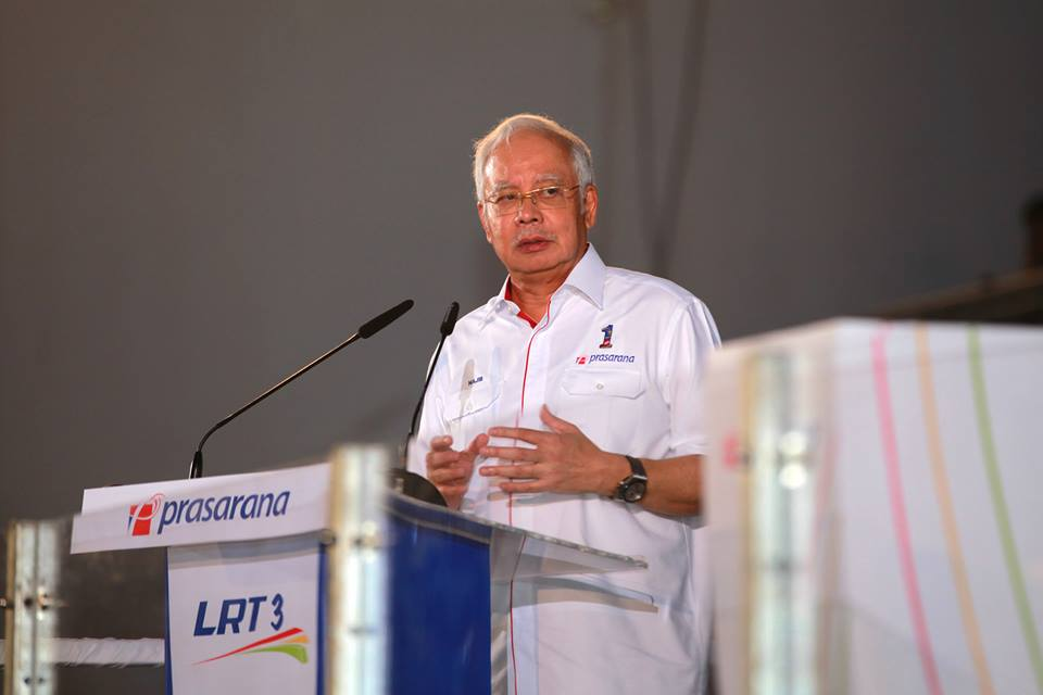 Najib during the launch held at the Melawati indoor stadium in Shah Alam - Picture credit : SPAD Facebook