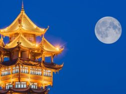 moon over a pagoda in chengdu