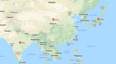 India, China and Japan