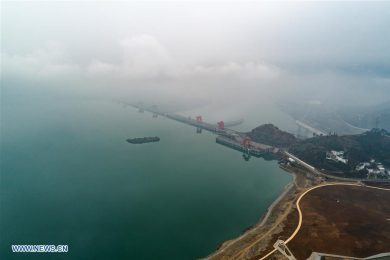 Aerial shot of the three gorges dam in China