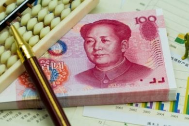 chinese yuan and an abacus